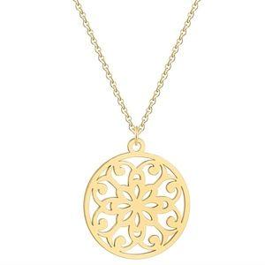 Jewelry - Mandala Floral Lotus Flower Gold Pendant Necklace
